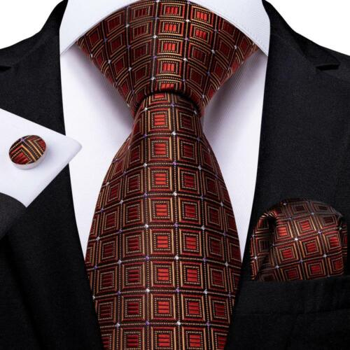 Orange Red Checks Silk Tie Set Mens Necktie Pocket Square Cufflinks Wedding