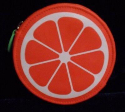 NEW! Buxton Faux Leather Citrus Coin Purse/Makeup Pouch, Orange - Summer Chic!