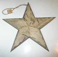 Set Of 2 Distressed Tan Country Primitive Wood Stars 15.5 X 14.5 Inches