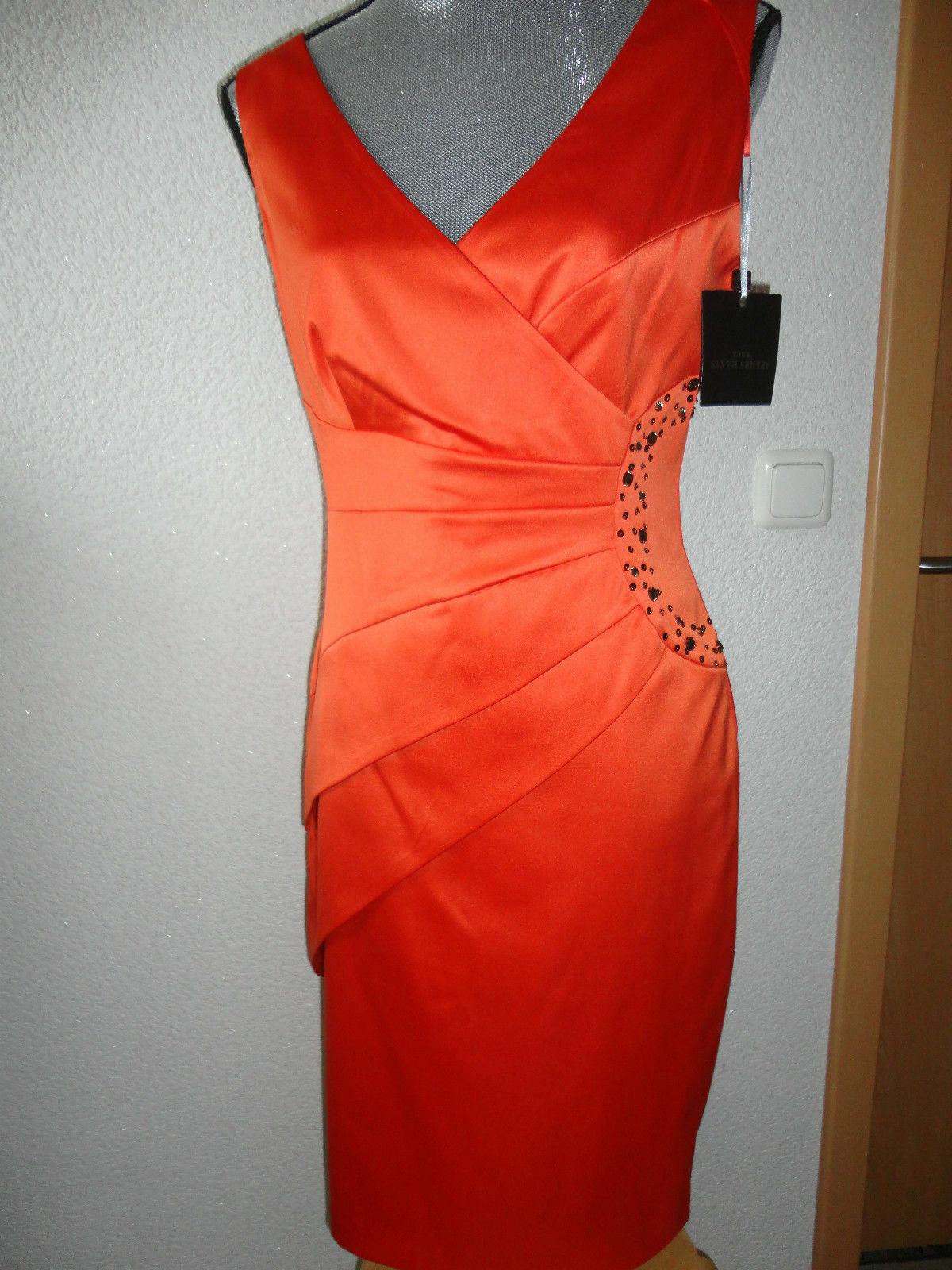 NEU Festliches Abendkleid Kleid Hochzeit Gr.38 Orange zu Jacke Schuhe