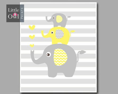 Yellow /& Grey //We Love You To The Moon And Back Elephant Nursery Print Set