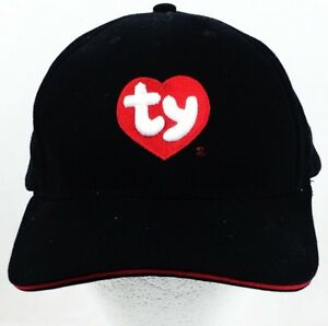 da7138c753a Image is loading TY-LOGO-BASEBALL-HAT-CAP-BLACK-EMBROIDERED-ADVERTISING-