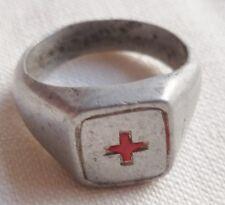 BAGUE CROIX ROUGE 1914/1918 WWI FRANCE TRANCHÉE POILU TRENCH ART NURSE RING