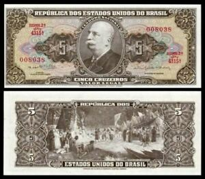 Brasil-5-Cruzeiro-1964-GEM-UNC-Low-Number-000113