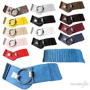 619ae672903d12 Das Bild wird geladen Guertel-breit-elastisch-Taillenguertel-Damen -Ring-Verschluss-Stretchguertel-