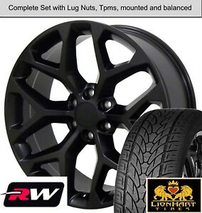 22 Inch Tires >> Details About 22 Inch Wheels And Tires For Gmc Sierra 1500 Oe Replica Ck156 Satin Black Rims