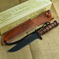 Case Xx U.s. Marine Corps Fixed Blade Combat Knife Leather Handle 00334