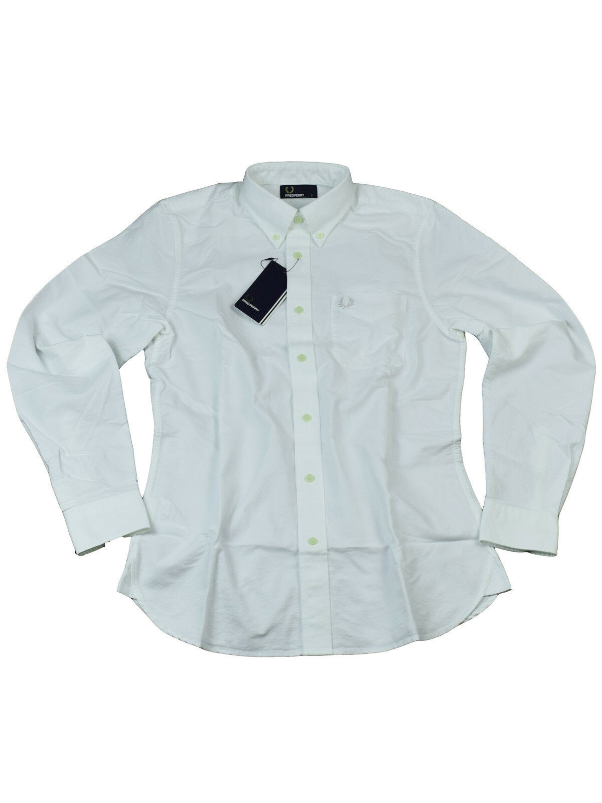 Fred Perry Button-Down Langarmhemd M3254 100 white  6114