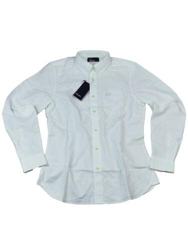 Fred Perry button-down langarmhemd m3254 100 blanc 6114