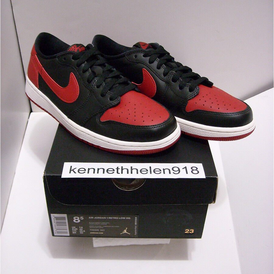 NEW 2015 NIKE AIR JORDAN 1 RETRO LOW OG BRED BLACK RED 705329-001 MENS SIZE 8.5