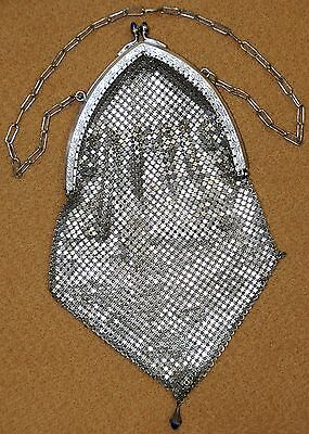 Vintage Accessories Charitable Antique Silver Mesh Purse W/ Sapphire Colored Clasp Flapper Accessory 135.8 Gms Nourishing Blood And Adjusting Spirit
