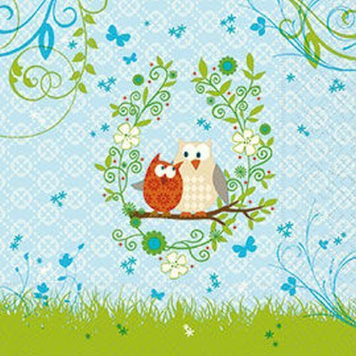 20 Servietten*Serviettentechnik*Owls in Spring*Eulen Liebespaar*Frühlingsgefühle