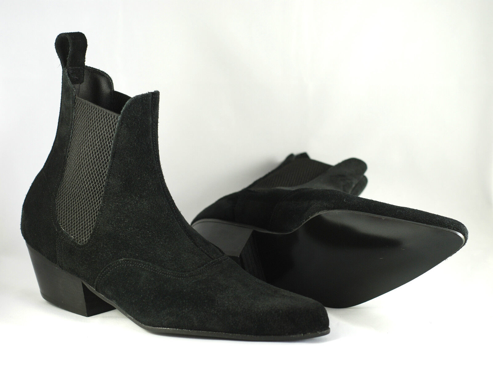 Mens Retro Sole Black Suede Chelsea Beatle Beat Mod Boots with Cuban Heel