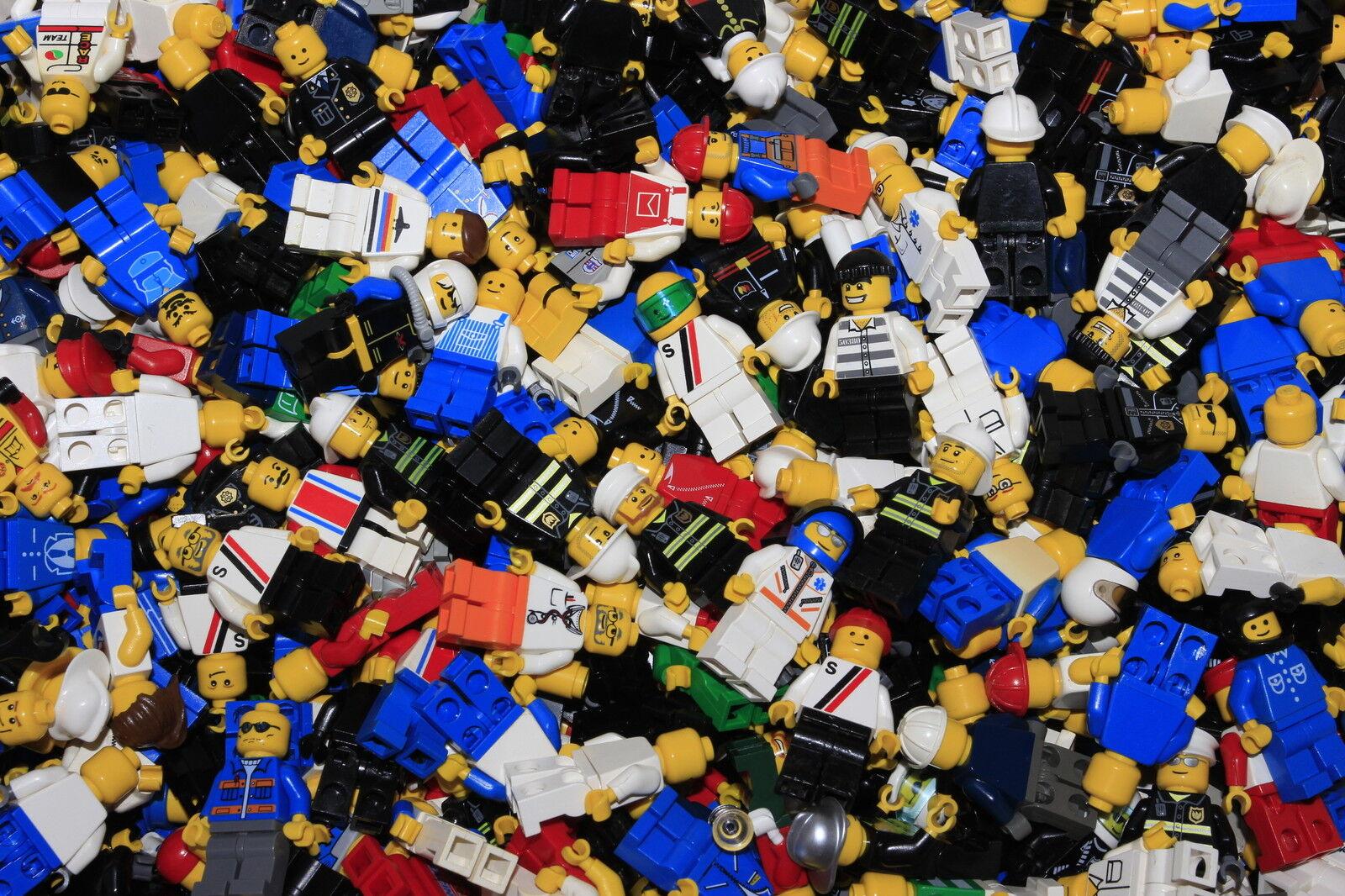 Lego 100 Random figurine figure de la City Police Pompiers ville ESPACE TRAIN Bundle