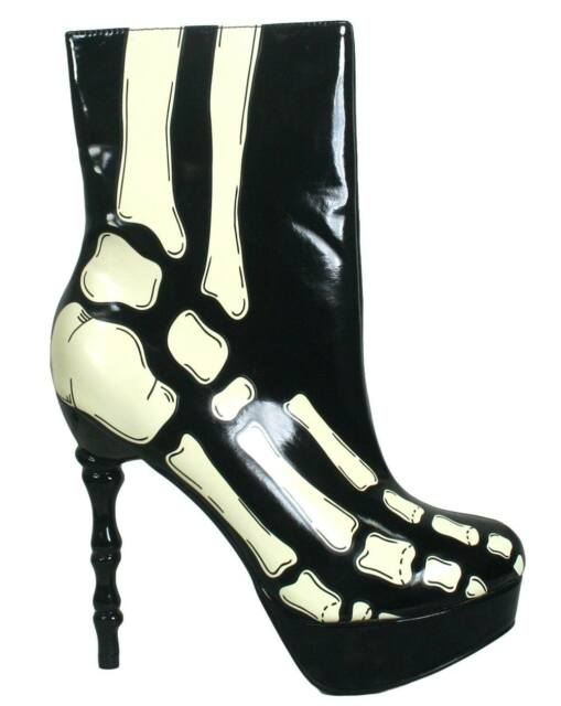 NEW TOO FAST LADIES X-RAY SKELETON BONE HEEL ANKLE BOOTS BLACK & WHITE (R2C)