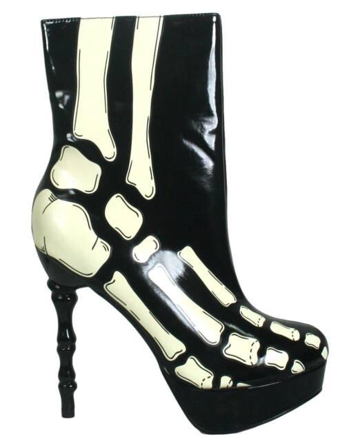 NEW TOO FAST LADIES X-RAY SKELETON BONE HEEL ANKLE BOOTS BLACK & WHITE (R28A/B)