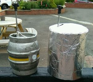 1 INSULATED CASK COVER & 2 ICE SHEETS cask beer cooler pub party  outdside ale