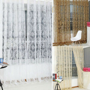 Retro-Flocked-Floral-Voile-Door-Window-Curtain-Panel-Sheer-Tulle-Drape-BDAU