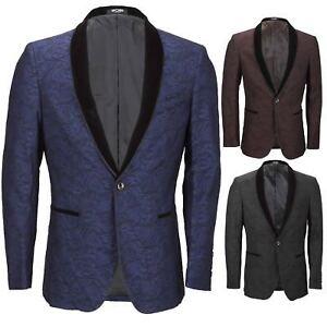Mens-Vintage-Jacquard-Floral-Print-Tuxedo-Suit-Jacket-Black-Velvet-Shawl-Lapel