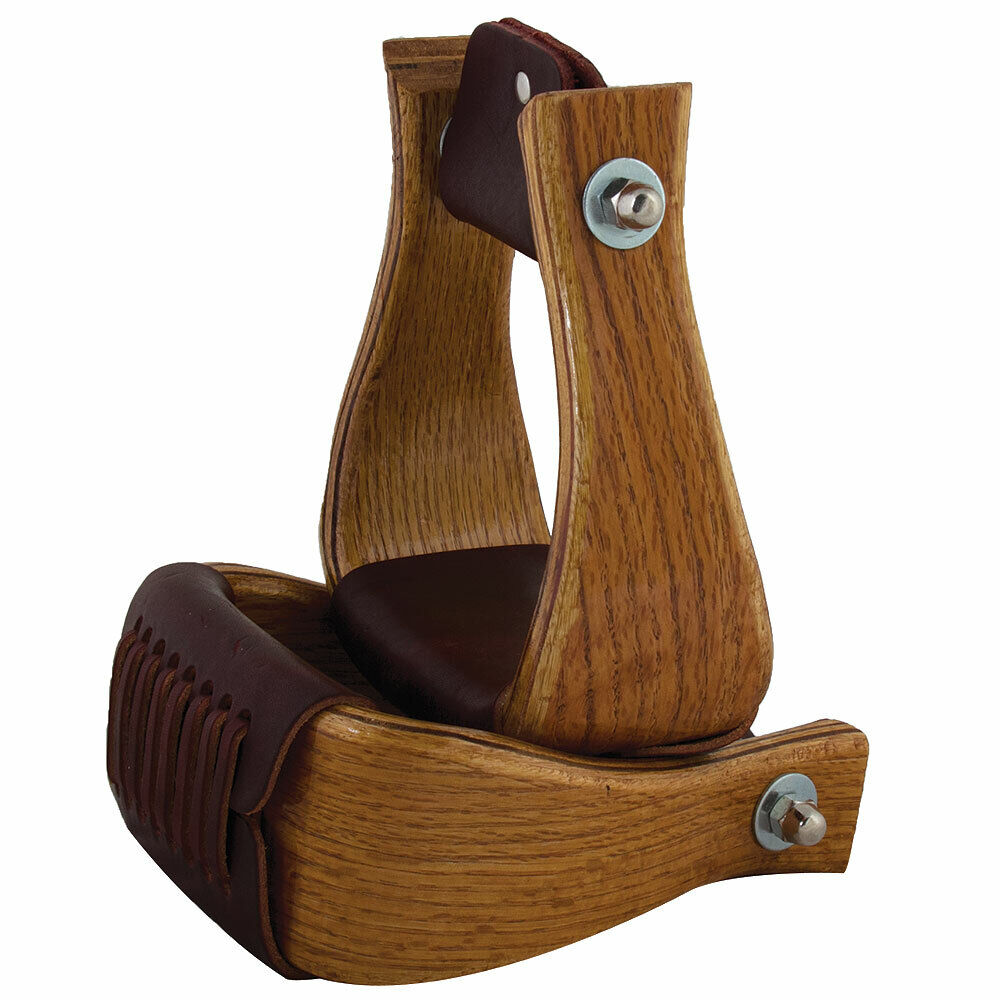 U-4-BG HILASON 4 inch OAK WOOD HORSE SADDLE BELL STIRRUPS