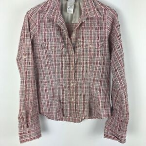The-North-Face-Womens-Button-Down-Shirt-Long-Sleeve-Collared-Plaid-Pink-M