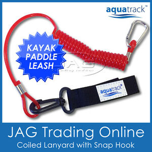 AQUATRACK-KAYAK-PADDLE-LEASH-Canoe-Fishing-Rod-Surf-Ski-Board-Coiled-Lanyard