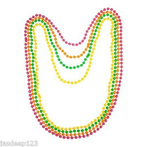 Set of 4 Neon GREEN,PINK,ORANGE,YELLOW Fluorescent 80/'s Rave Bead Necklaces