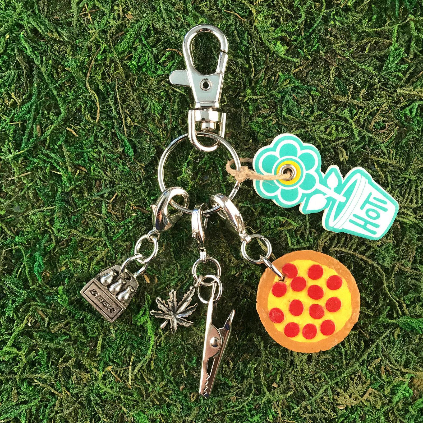 HOTI Handmade Pepperoni Pizza Beer Bottles Marijuana Leaf Roach Clip Keychain