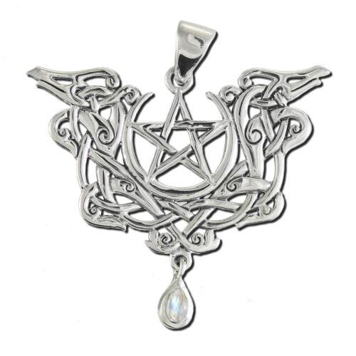 Sterling Silver Dragon Pentacle Pentagram Pendant Moonstone Dryad Design Wiccan