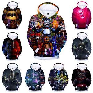 Five Nights at Freddy Mens Fashion Zipper Pullover Hoodie Sweatshirts