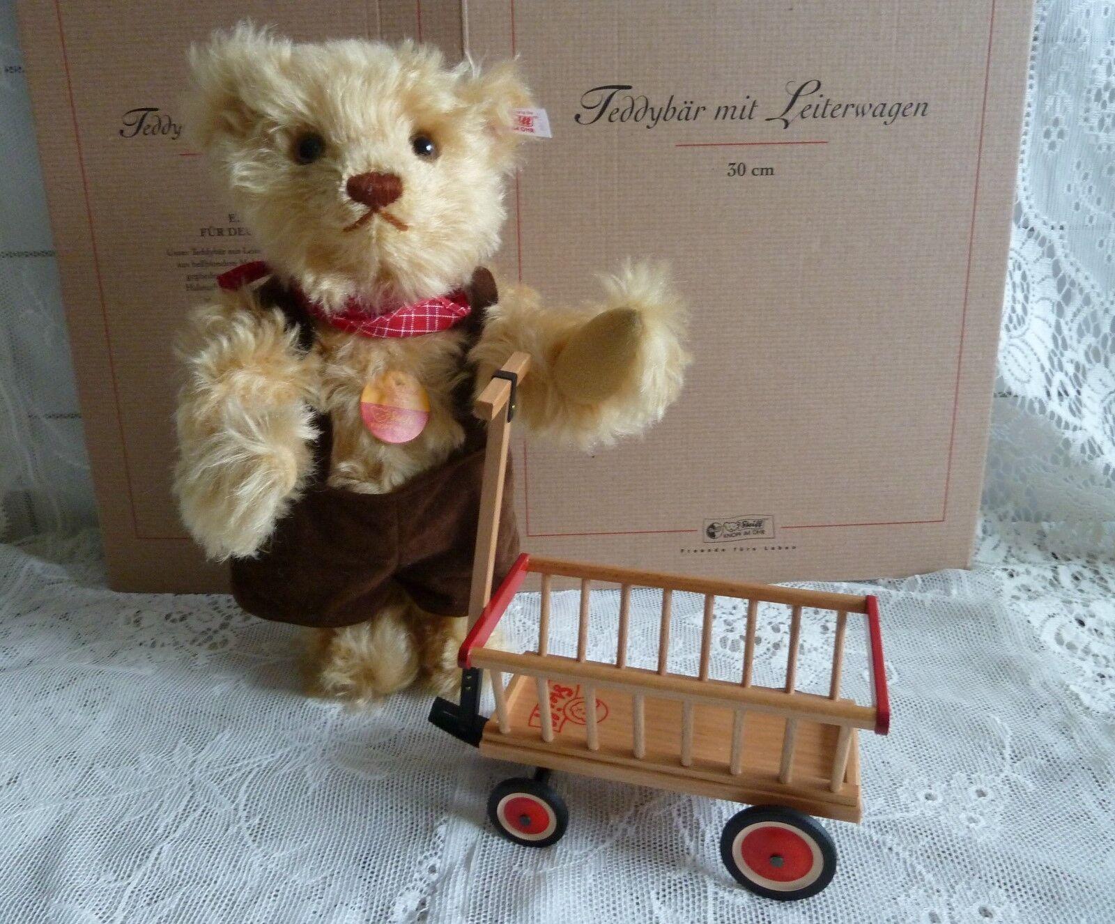 Steiff Teddybär mit Leiterwagen Bär 671166 Deutschlandbär 2002 Teddy