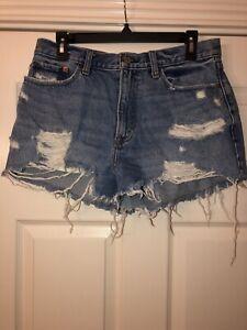 Abercrombie Fitch Pantalon Vaquero Envejecido Pantalones Cortos Para Mujer 30 10 Annie Alto Aumento Corto Ebay