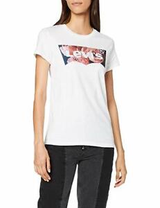 Detalles de Levis Womens Jeans T SHIRT TEE hsmk Foto llenar Floral Blanco Rojo Ala de Murciélago ver título original