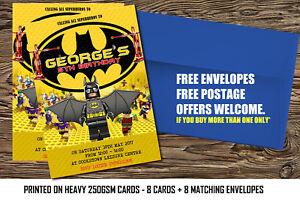 Detalles De Personalizado Lego Batman Película Fiesta Invitaciones Cumpleaños Invita A Lego Hero X 8 Ver Título Original