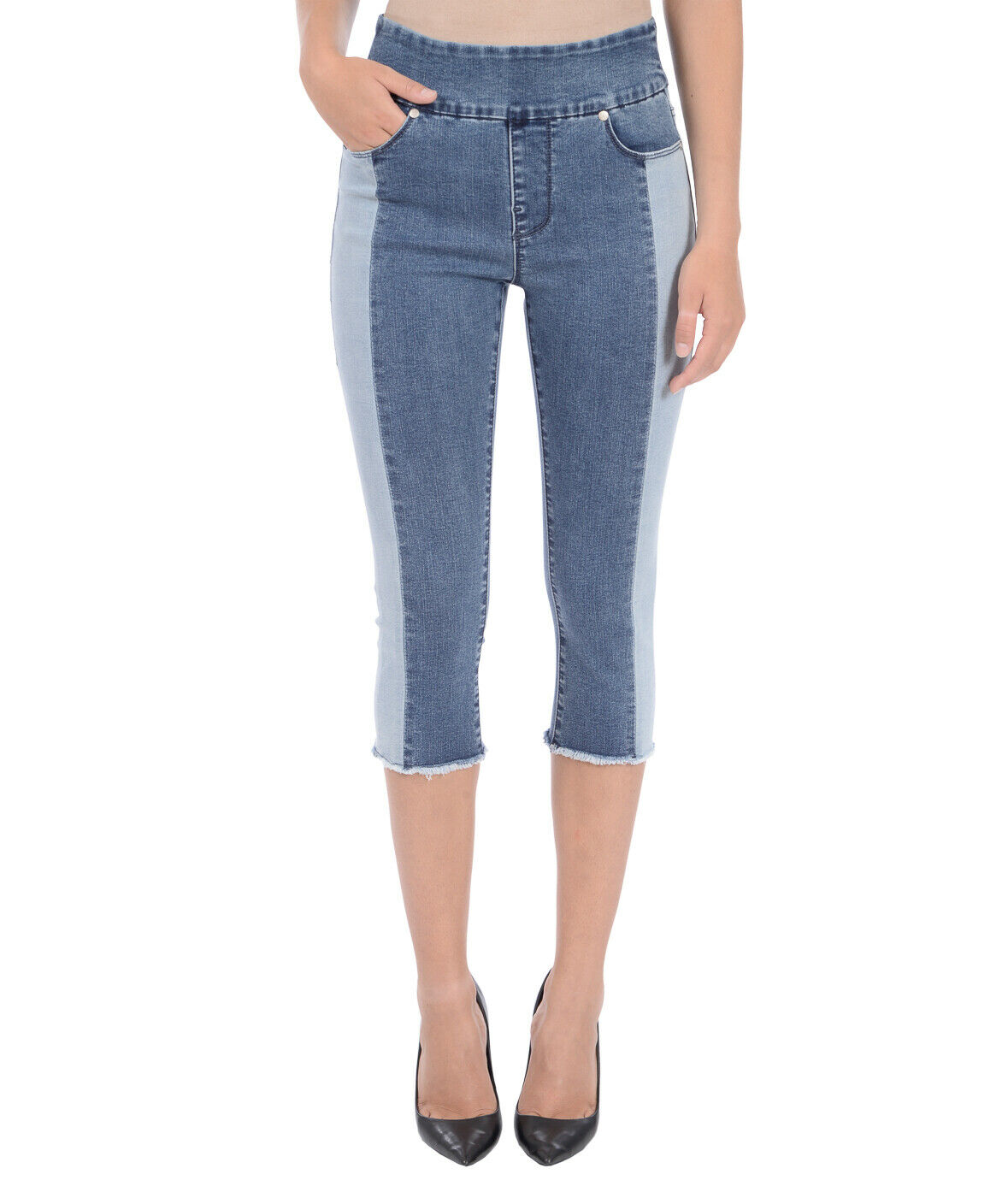 LOLA Jeans high rise pull on 4 way stretch denim capri 2 tone size 14   33