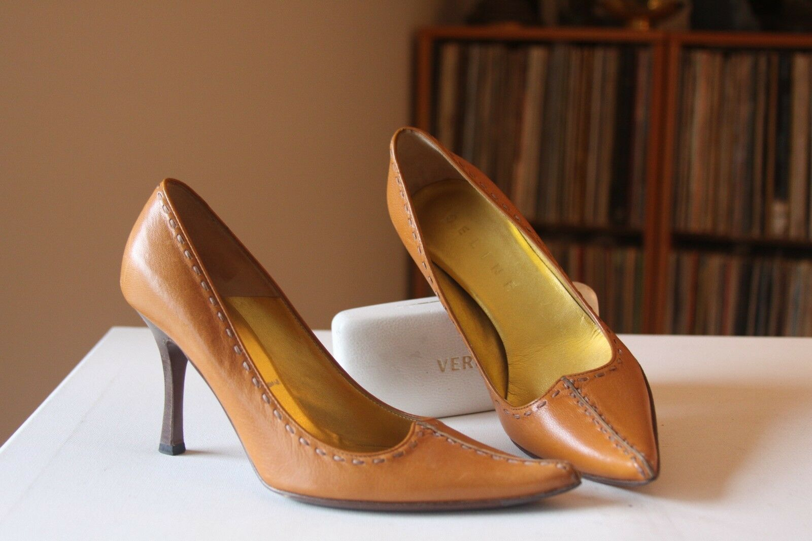 Celine Ochre Leather 3 1 2   Heel Split Pointed Toe Pumps Sz 36 B Made In