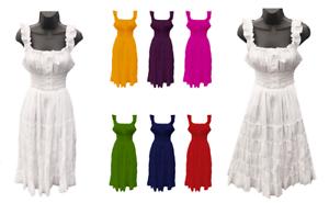 276c5e3147 Details about Gypsy 100% Cotton Women Girls Boho Renaissance Smocked  Peasant Mid Length Dress