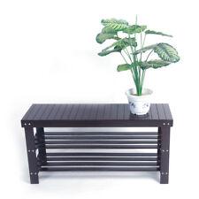 3Tiers Bamboo Shoe Rack Bench Storage Seat Organizer Shelf Entryway Hallway Home