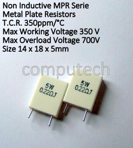5 pezzi 0,22 Ohm 5W 5%, Resistenza MPR5W in ceramica non induttiva per audio