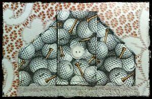 Golfers-Hanging-Hand-Towel-Golf-balls-034-Handmade-Button-Close-NEW