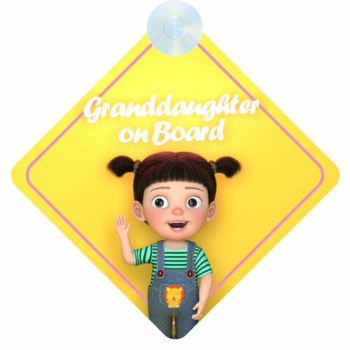 002 Girl Grandchild Window Sign Gift//Present Granddaughter On Board Car Sign