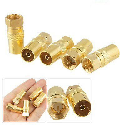 5pcs Straight F-Type Male to TV PAL Female RF Coaxial Connector Adapter Jack PK
