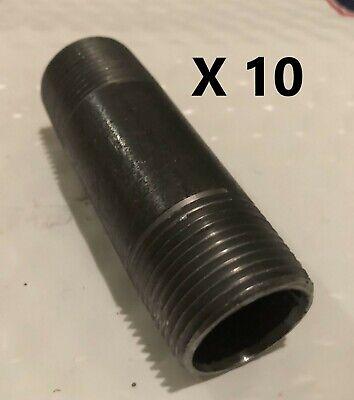 """1//2/""""X3 1//2/"""" negro de hierro maleable Tubo montaje de pezón roscados de fontanería Lote de 10"""
