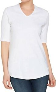 Isaac-Mizrahi-Live-Womens-Top-Bright-White-Size-Large-L-V-Neck-Knit-36-0003