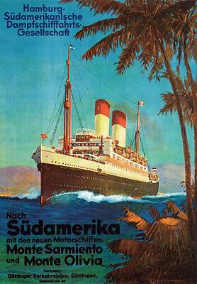 TX214 Vintage Cunard Line Ocean Liner Cruise Ship Travel Poster Reprint A4