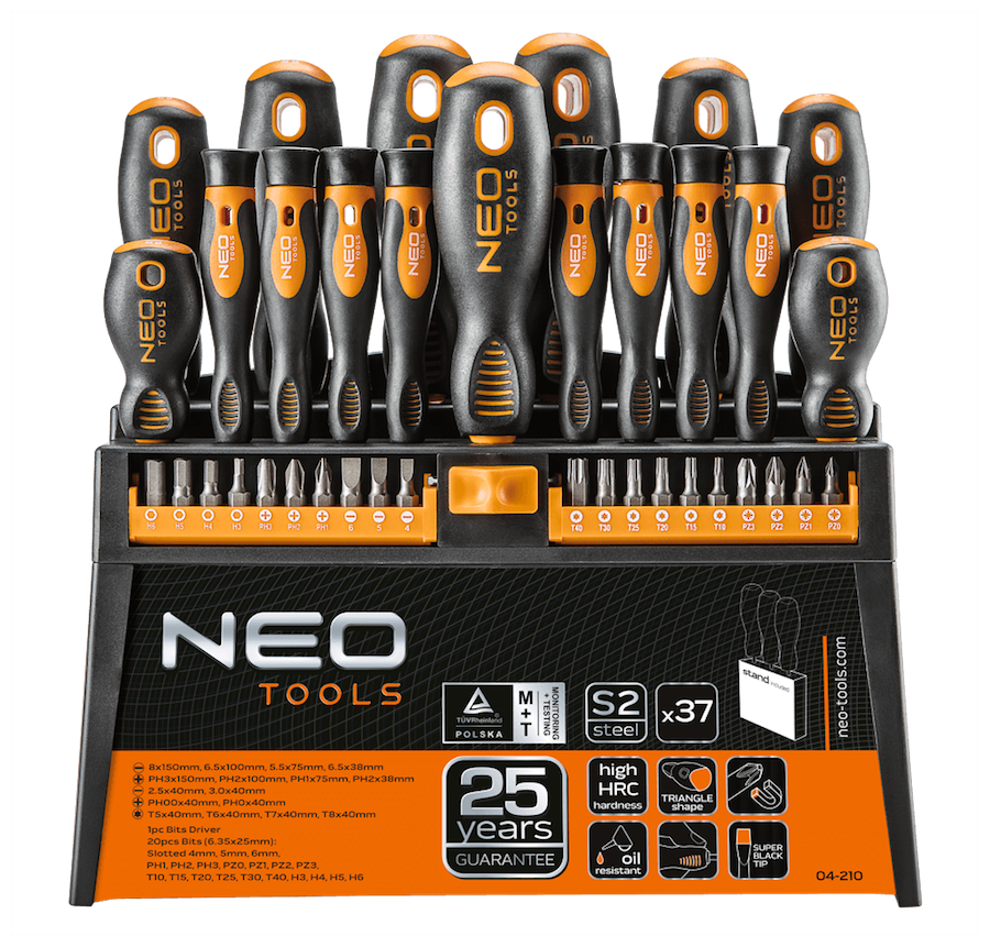 NEO TOOLS SET OF SCREWDRIVER 37 PCS STORAGE STAND SCREWDRIVERS BITS Neo 04-210