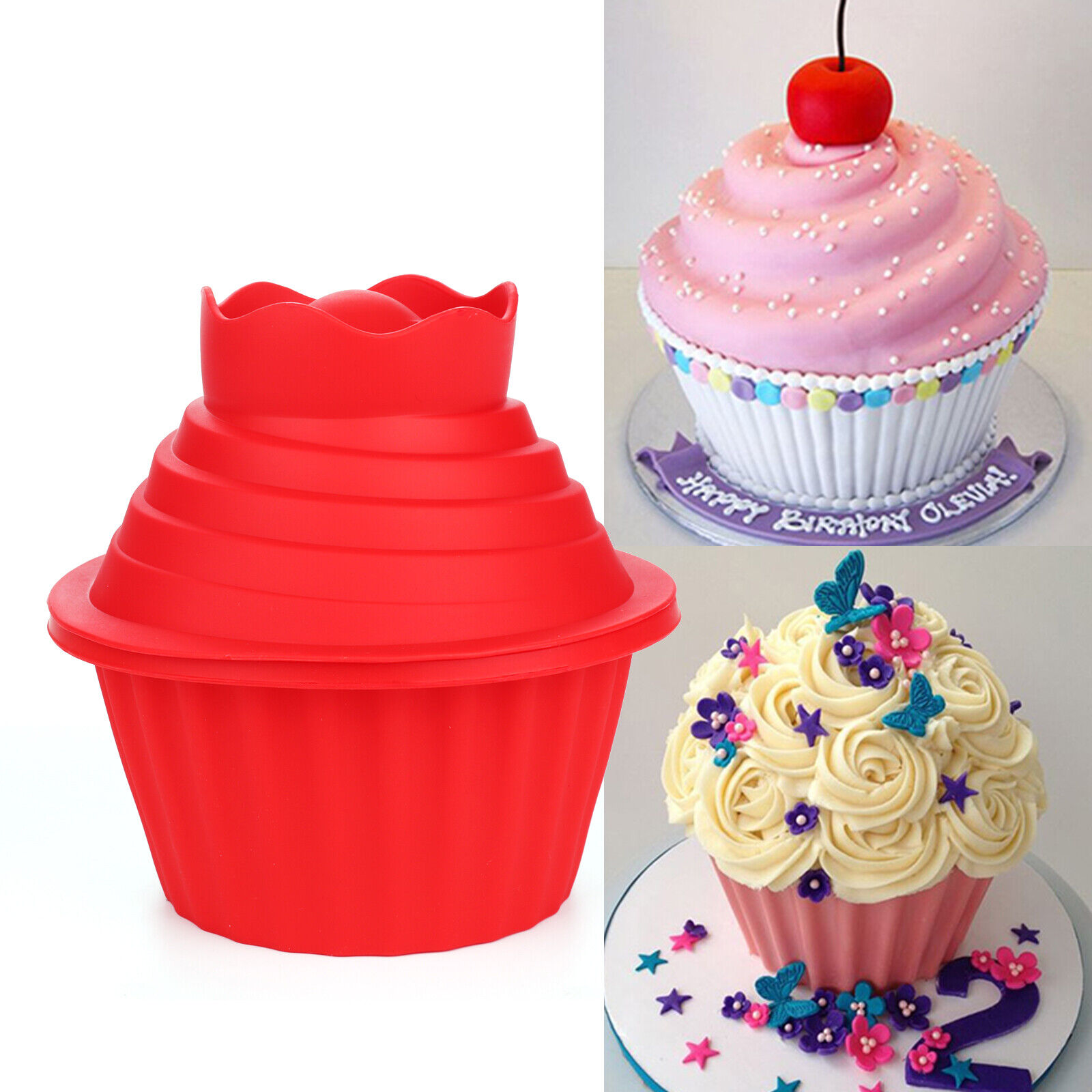 Swell 3Pc Big Top Giant Cupcake Mould Jumbo Silicone Birthday Cup Cake Funny Birthday Cards Online Overcheapnameinfo