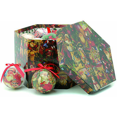 Set of 14 Decoupage Traditional Christmas Santa Baubles  NEW 18892