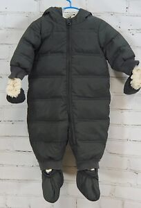 Baby-GAP-Snowsuit-Down-Fill-Puffer-Romper-Bunting-Detachable-Mittens-Boys-6-12M
