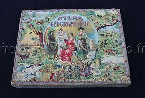Ancien Jeu Puzzle Bois Saussine Atlas Geographique France Europe Mappemonde